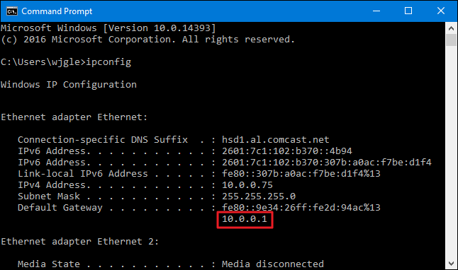 Find Router's IP Address with CMD in Windows