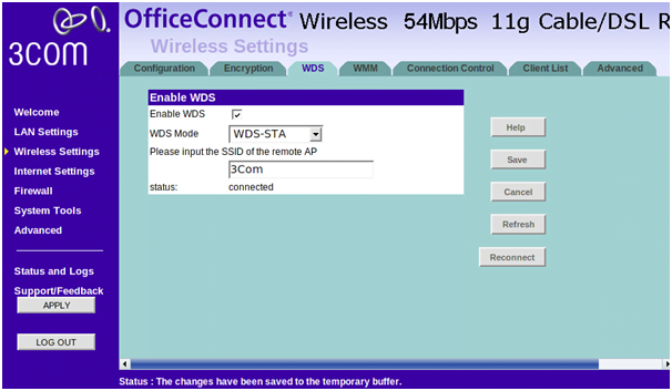 3COM Router Wireless Settings