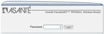 Asante Router Admin login Page