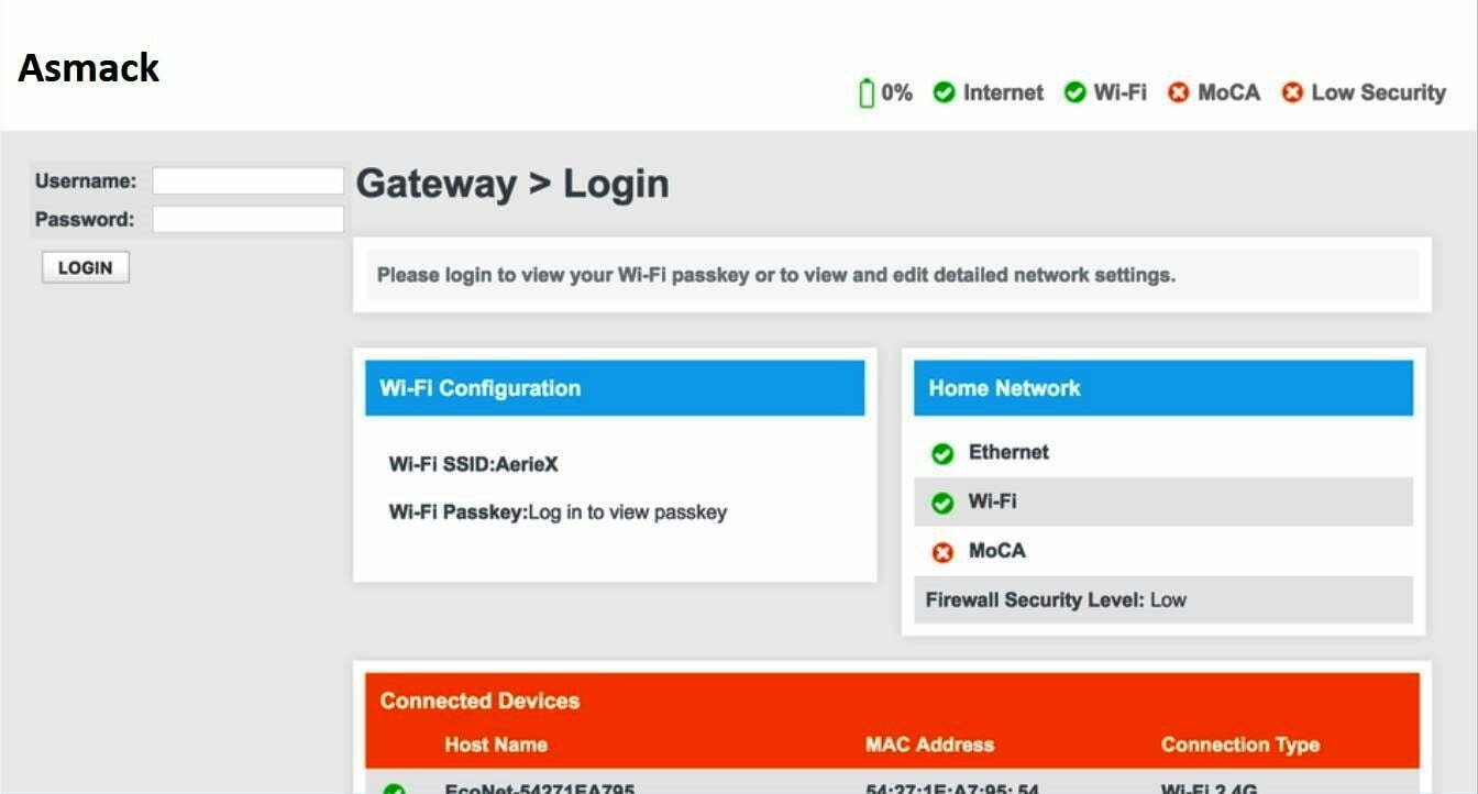 Asmak WiFi Router Admin Login Password Change