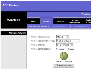 ADC Kentrox Router Wireless Network Settings