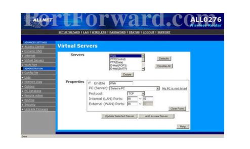 AllNEt Router Virtual Servers Setup