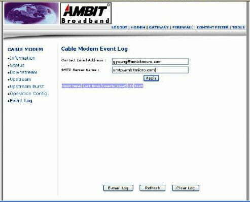 AMBIT Router Event Log