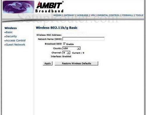 AMBIT Router Wireless Settings