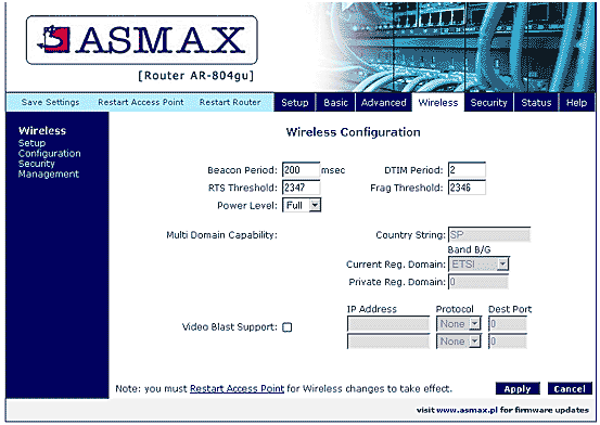 Asmax Router Wireless Settings WiFi Password Change