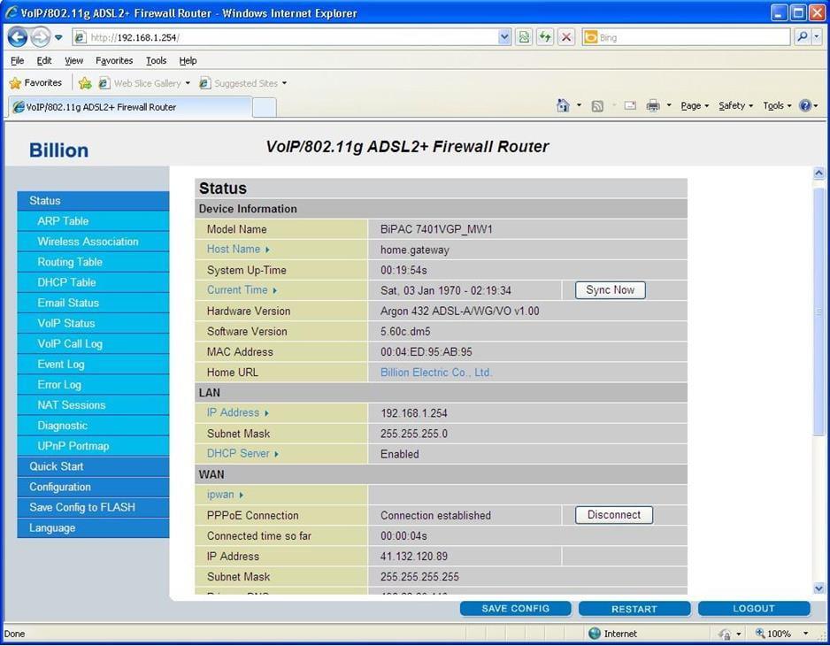 Billion Networks ADSL Router Wireless Settings