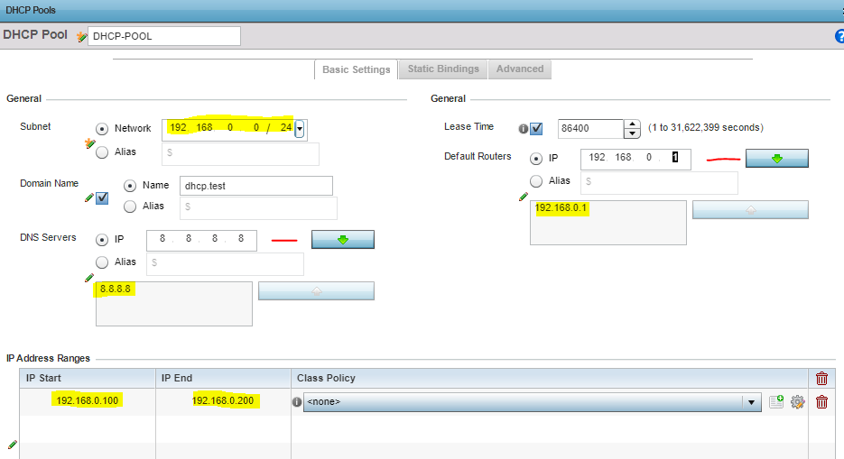 Enterasys Router Network Settings