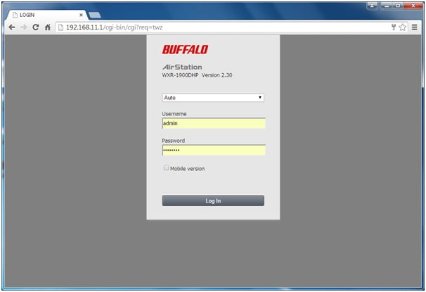 192.168.11.1 Buffalo Router Admin Login Password Change