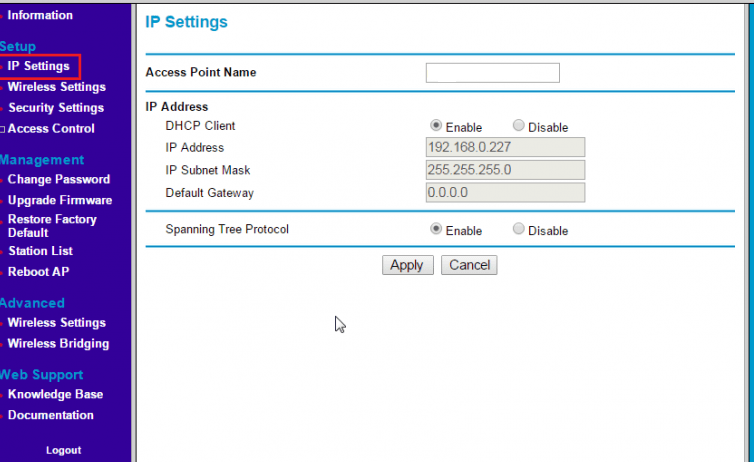 192.168.0.227 IP Address Setup for Change