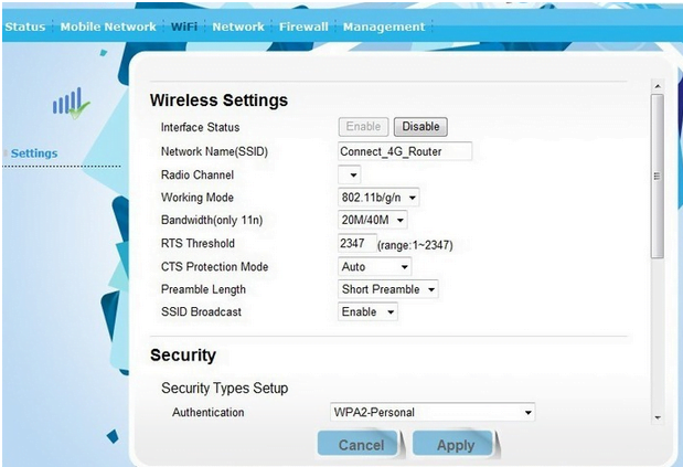 Maxdata Router  Wireless Settings
