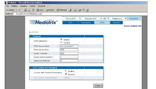 Mediatrix 2102 Advanced Settings