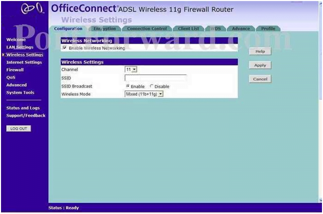 Minolta QMS Router Wireless Settings