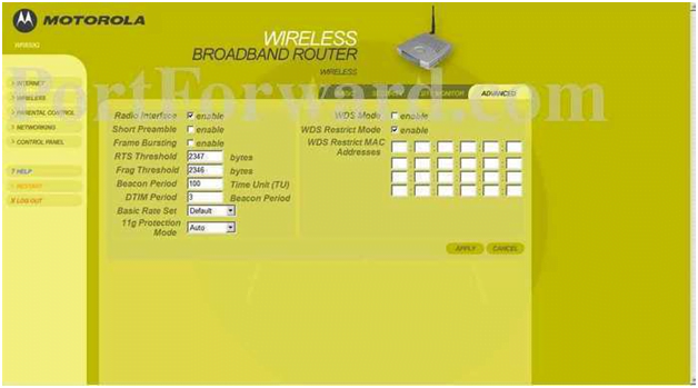 Motorola Router Wireless Advanced Settings