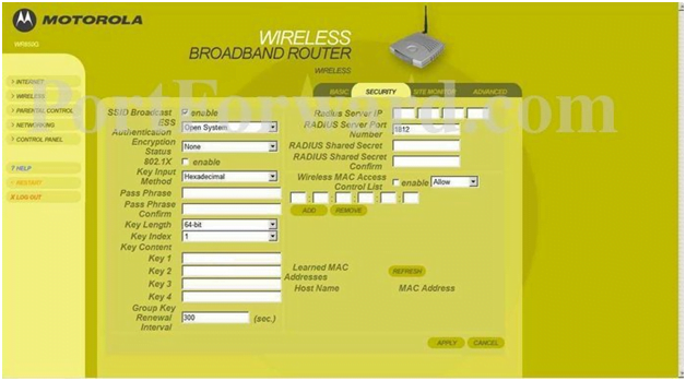 Motorola Router Wireless Security Settings