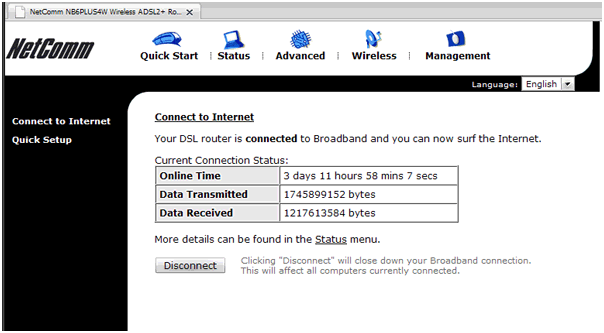 Netcomm Router Connection Status