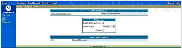 Netopia Router WAN Interface