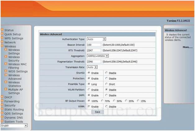 Netscreen Router Advanced Wireless Settings