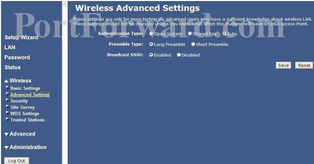 IronPort Wireless Advanced Settings
