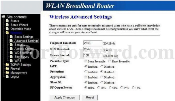 Loopcom Router wireless Advanced Settings