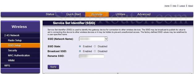 Origo Router SSID Setup