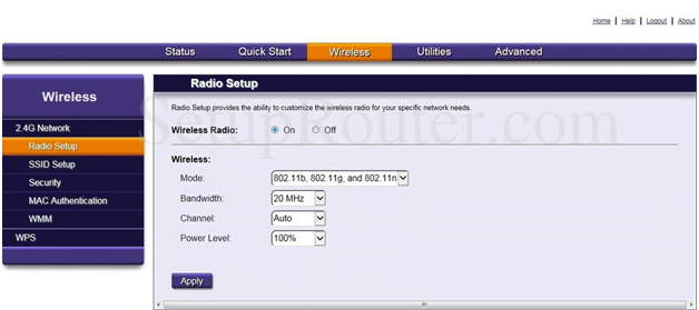 Origo Router Wireless Radio Setup